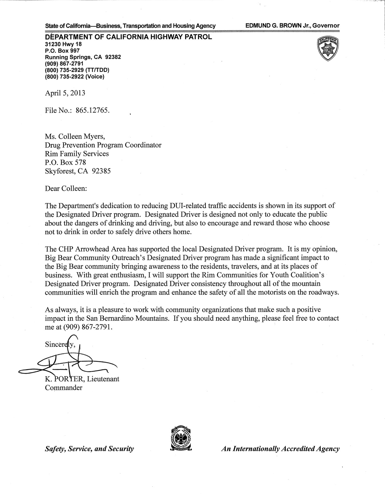 Letter of Support from CHP
