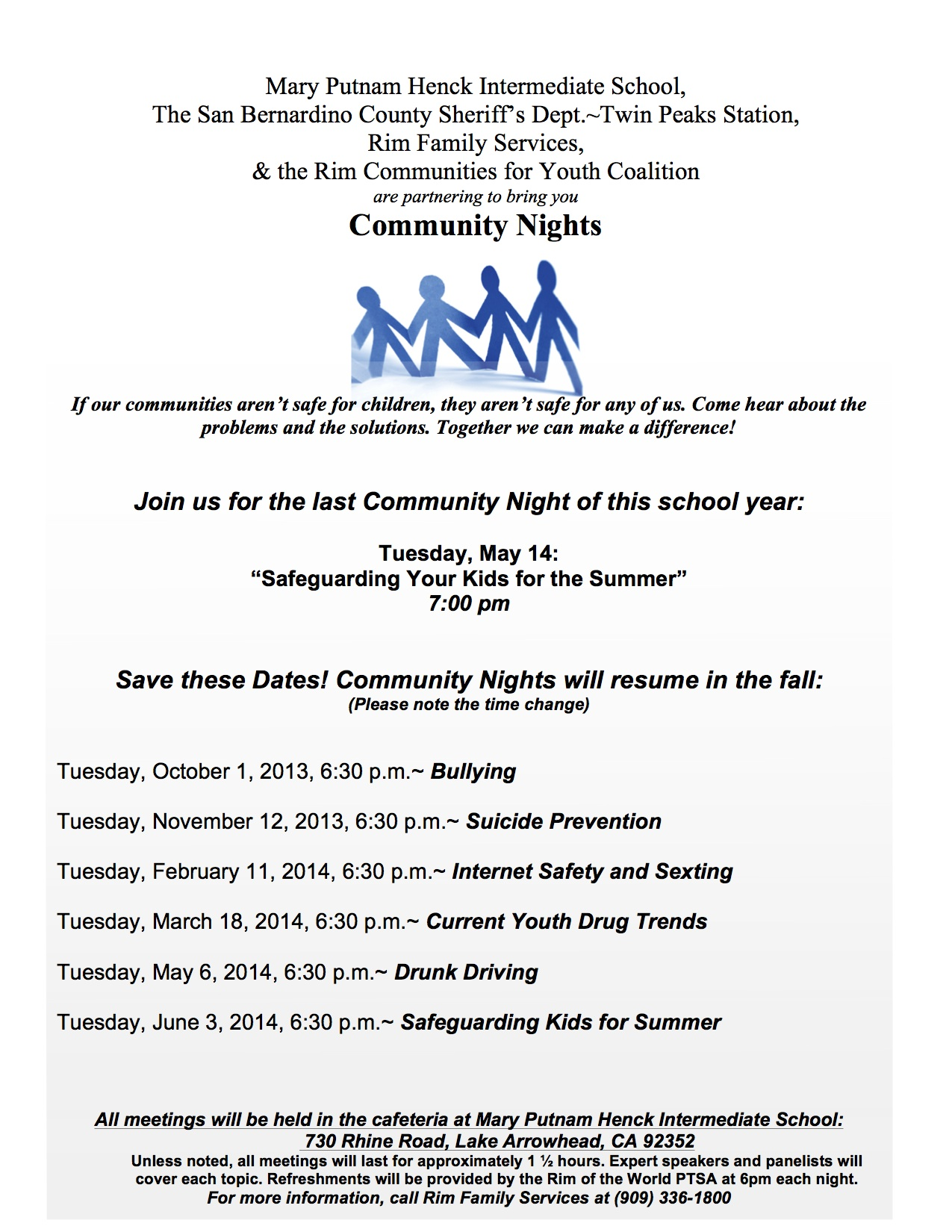 Flyer Seven-Community Nights 2013-2014